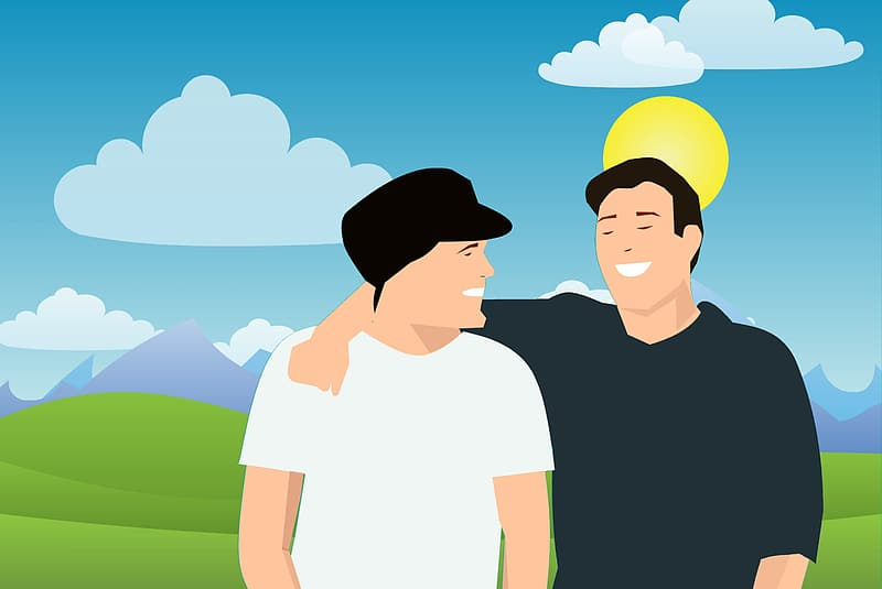 illustration-of-two-friends-enjoying-the-park-on-a-sunny-day